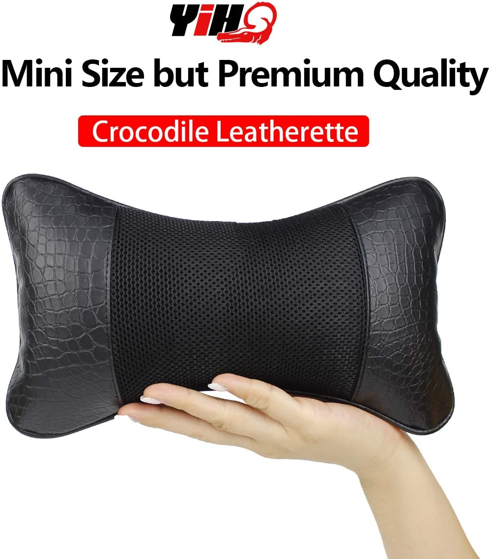 YIHO Car Seat Neck Pillow Embossed Crocodile Leatherette Support Head-Rest Cushion to Relief Cervical Shoulder Pain Issues for Driver & Passenger, Office or Recliner Chair