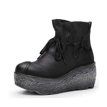 Hy Botas de Moda para Mujer, Botas de Cuero para otoño/Invierno, Botas