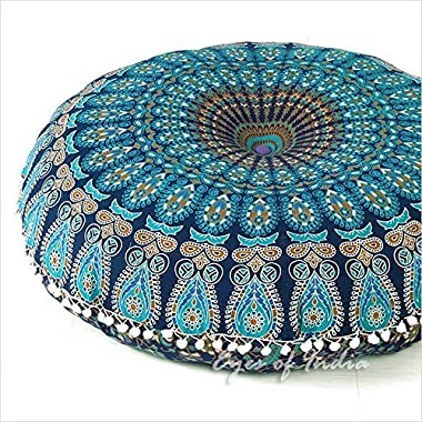 EYES OF INDIA - 32  Blue Mandala Floor Pillow Cushion Seating Throw Cover Hippie Decorative Bohemian Boho Indian