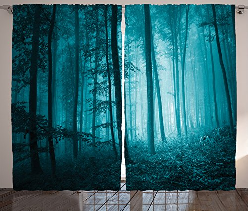 "Ambesonne Mystic Curtains, Magic Foggy Dark Forest Foliage Landscape Countryside Monochromic Art Print, Living Room Bedroom Window Drapes 2 Panel Set, 108"" X 84"", Teal"