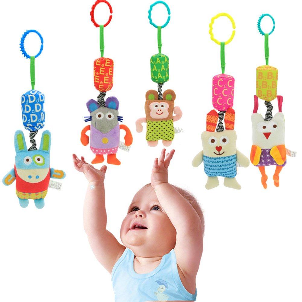ANGTUO 5 Pack Cochecito de bebé Juguetes Colgantes, Cuna Asiento Felpa zoológico Letra Linda Juguete 0-2 Años bebé Juguete Educativo con Anillo de Fijación y Campana