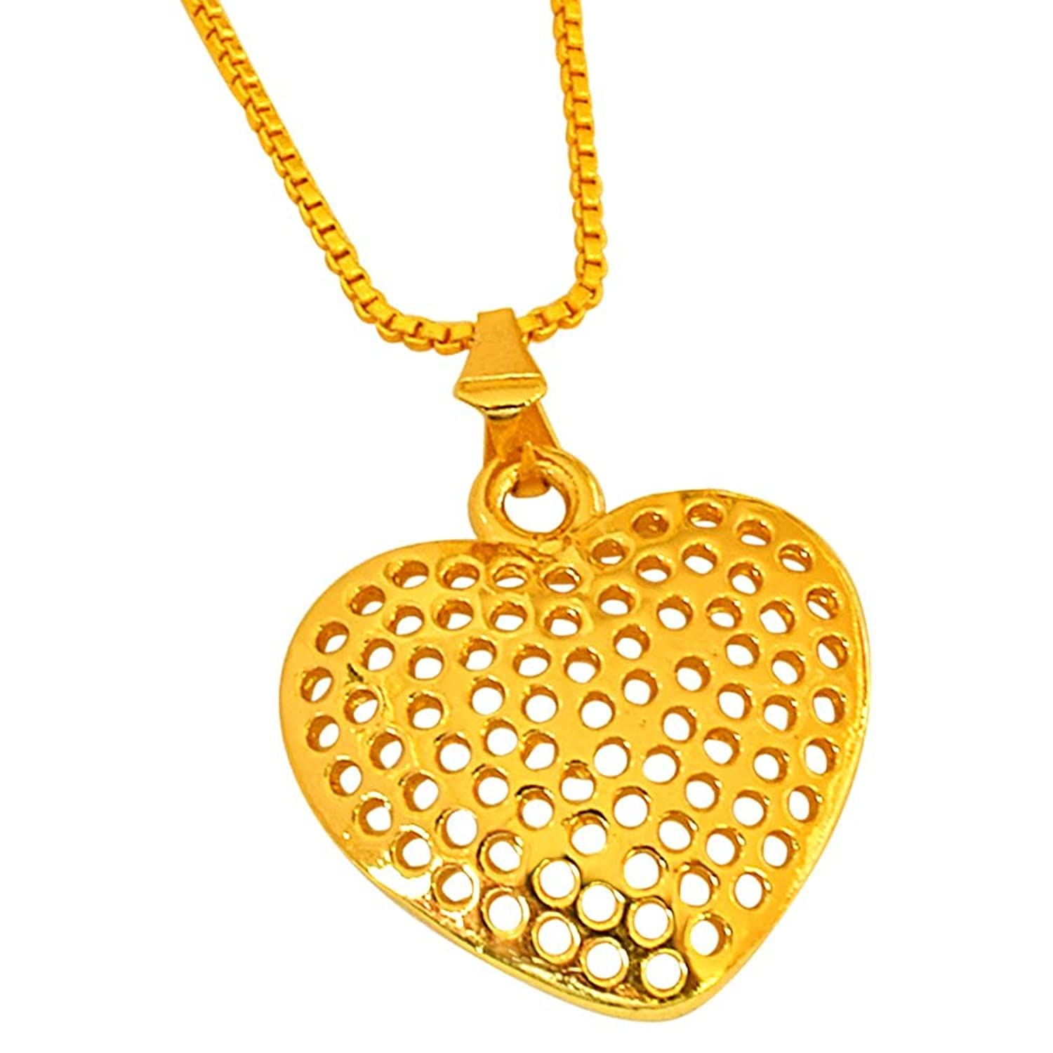 Buy surat diamond small heart shaped gold plated pendant with chain buy surat diamond small heart shaped gold plated pendant with chain for girls sds263 online at low prices in india amazon jewellery store amazon aloadofball
