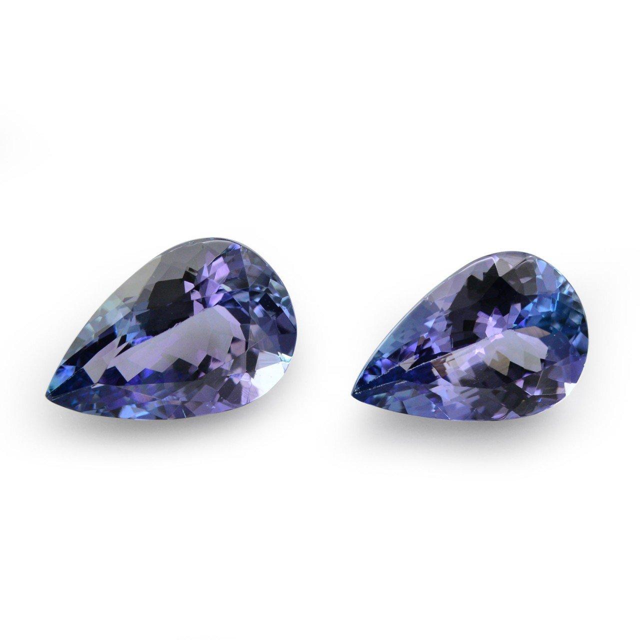 5.08Cts Blue Tanzanite Loose Gemstone Pear Shape Pair