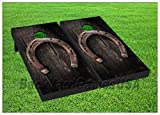 Horseshoe Rustic Barn Cornhole Boards BEANBAG TOSS GAME w Bags Horse Cowboy 351