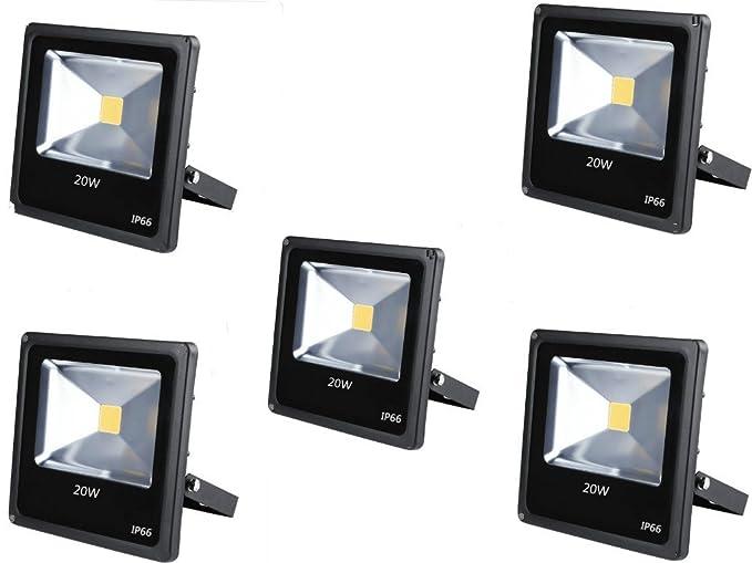 5 x 20 W Proyector LED 20 W Super luminoso blanco cálido interior ...