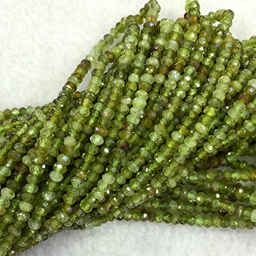 "1 Strands Natural Green Garnet Demantoid Hand Cut Faceted Rondelle Loose Gemstone Beads 3x4mm 16"" 04110"