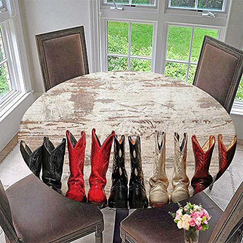 Blackjack Premium Leather - Mikihome Round Premium Tablecloth Western Legend Cowgirl Leather Boots Rustic Wild West Theme Cultural Folkart Print Stain Resistant 31.5