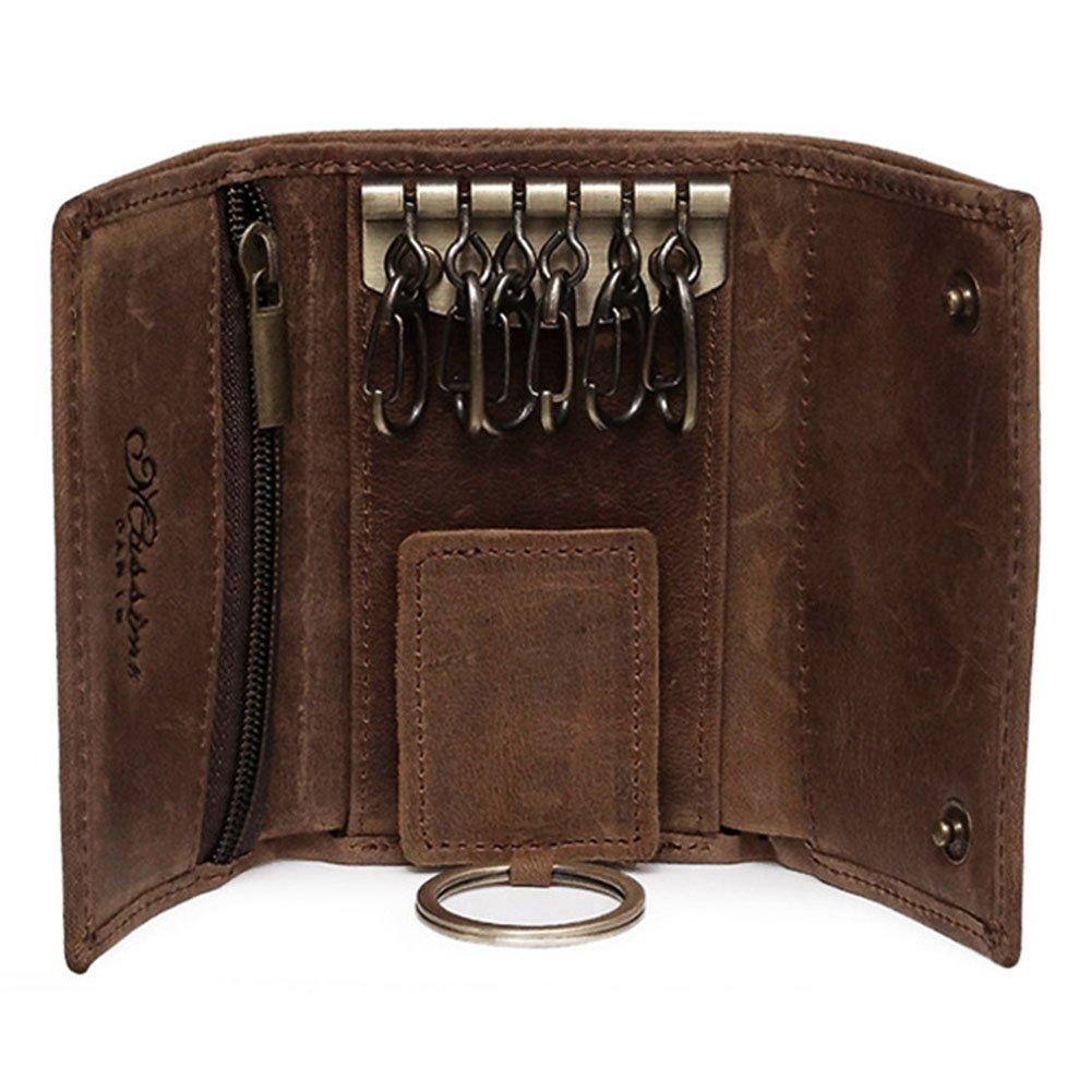 BestFire Slim Compact Leather Key Holder Wallet Pouch Retro Genuine Leather  Handmade Three-Fold Keychain 1cff79bda
