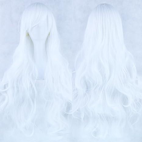 Zinsale 80cm Largo Natural Resistente al calor Lolita Rizado Peluca Cosplay (blanco puro)