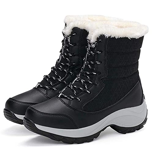 Athlefit Women's Winter Boots Waterproof Fur Lined Snow Boots Lace Up Ankle Heels Size 5 Black