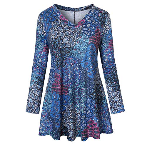(Londony ♥‿♥ Clearance Sales,Women's Long Sleeve Mandarin Collar Shirt Pleated Flare Hem Swing Tunic Tops)
