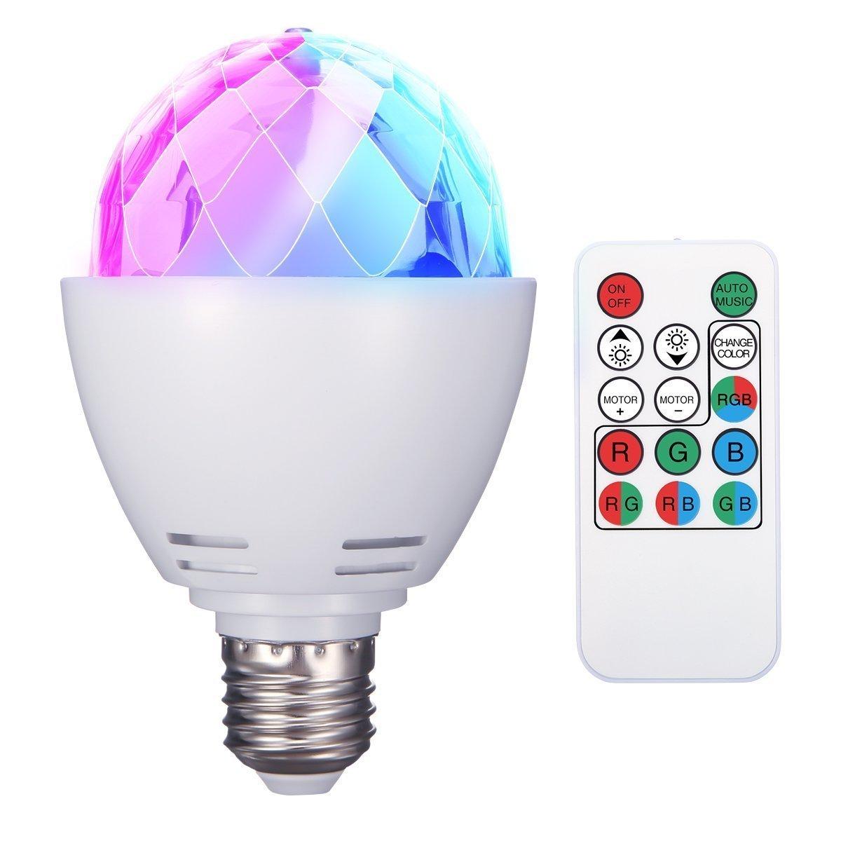 ELEGIANT Discokugel E27 RGB LED Partybeleuchtung Lichteffekte Bü hnenbeleuchtung Glü hbirnen Partylicht Lampe Fernsteuerung fü r Geburtstagsparty Hochzeitsfest Weihnachten Halloween (Batterie enthalten) ELEGIANT Co. LTD ELEGIANTtFBDna35t