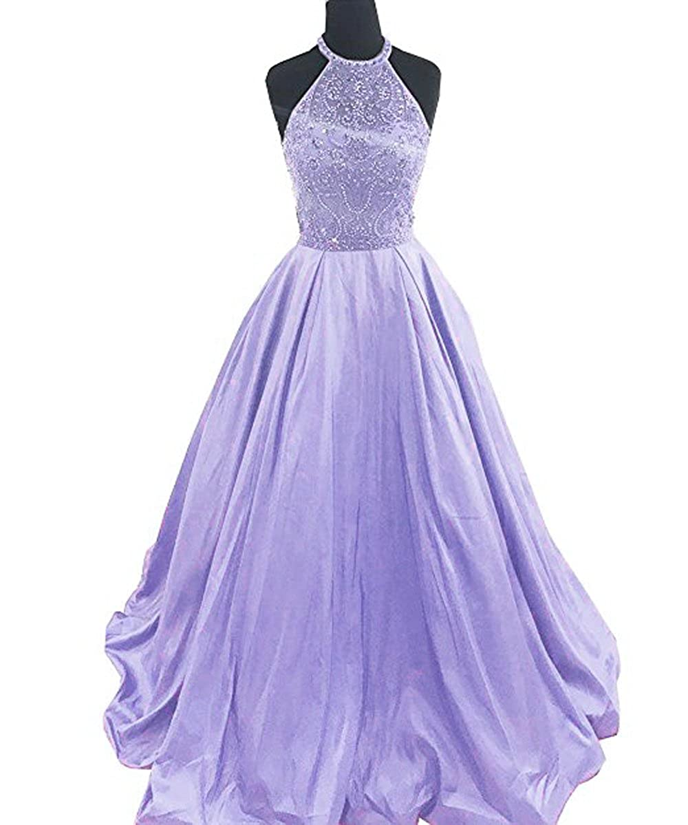 Lavender Lnxianee Women's Halter Beaded Prom Dresses Long Formal Satin Party Evening Gowns