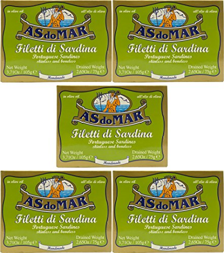 (Pack of 5) As do Mar Portuguese Skinless Boneless Sardines in Olive Oil 105 g Tins