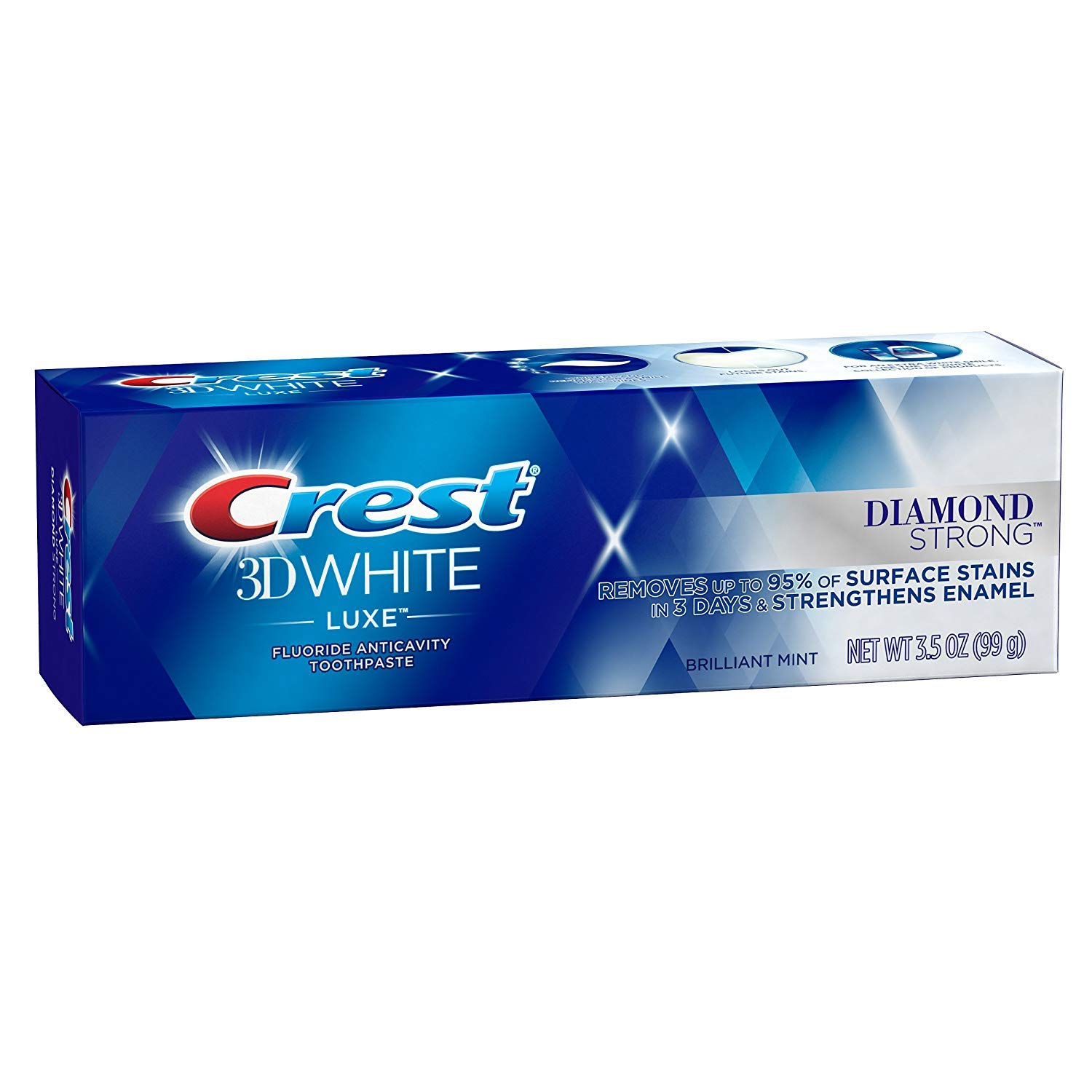 Crest 3D White Luxe Diamond Strong Toothpaste 3.5 oz (Pack of 2)