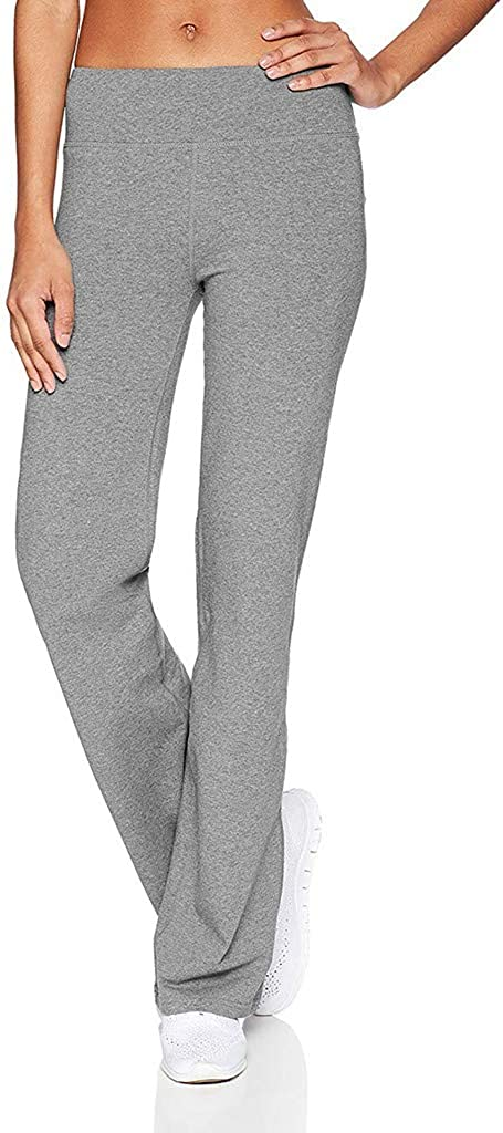 wodceeke Women Fashion Pants Solid Color High Waist Slim Stretch Pants Flare Pants Wide Leg Trouser