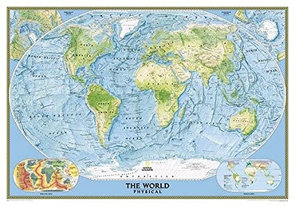 Amazon Com World Physical Wall Map Map Type Enlarged And Laminated