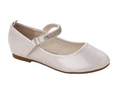 293b7809c1ee8 Girls White Patent Diamante Bridesmaid Party Communion Pumps Shoes ...