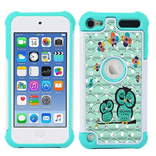 iPod Touch Case, iPod Touch 5 Case, iPod Touch 6 Case, MagicSky [Shock Absorption] Studded Rhinestone Bling Hybrid Dual Layer Armor Defender Protective Case Cover For iPod Touch 5th / 6th Gen-OWLS