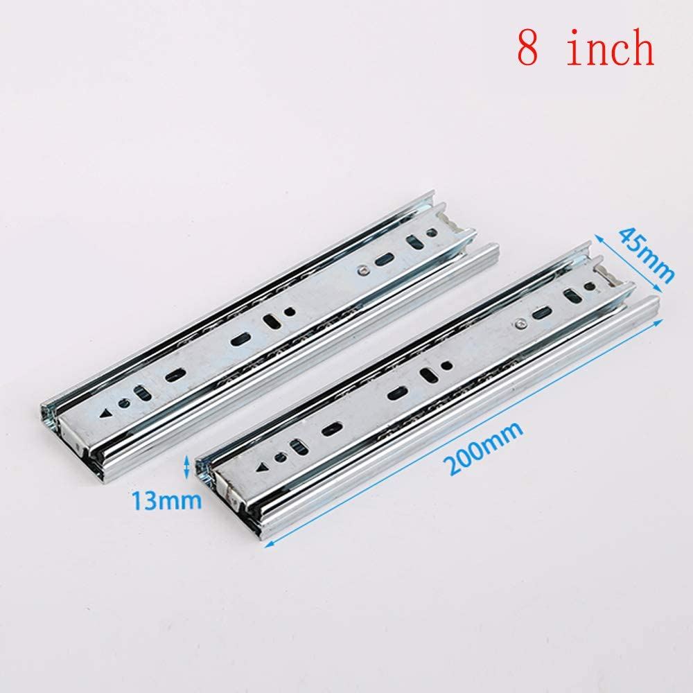 Long Service Life. Cushioning and Damping 3-Section Drawer Rail 4//6//8 inch Ultra-Short Drawer Slide Silent Solid Steel Balls Strong and Durable