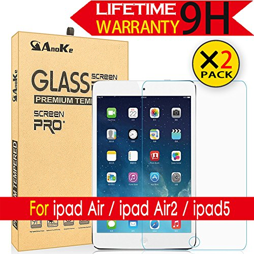 iPad Air / Air2 / iPad 5 Glass Screen Protector, [2-pack]AnoKe(0.3mm 9H) Tempered Film Shield Guard For Apple iPad 5 Glass -2PACK