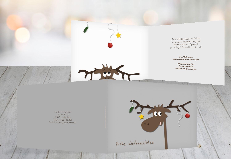 Kartenparadies Grußkarte Weihnachten Grußkarte Elch, hochwertige Weihnachtsgrüße als Weihnachtskarte (Format  148x105 mm) Farbe  Grau