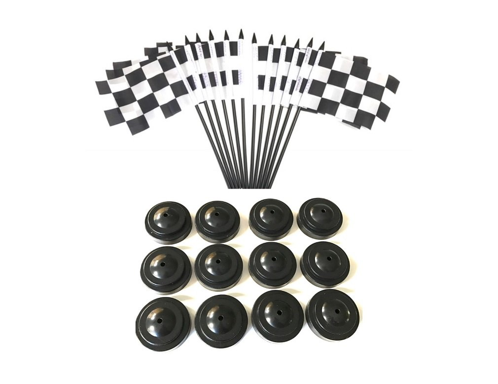 BOX of 12 Black and White Checkered 4''x6'' Miniature Desk & Table Flags With 12 Flag Stands, 4x6 Black and White Checkered Small Mini Stick Flags