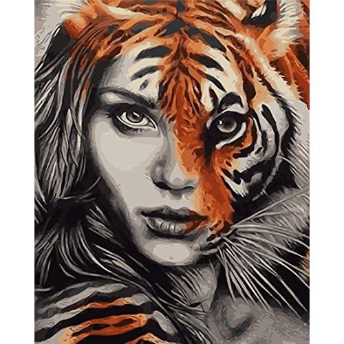 YEESAM ART Nouvelles Peinture au numero pour adulte enfants - Belle femme tigre 40x50 cm - DIY Painting by Numbers numéro Cadeaux de noël