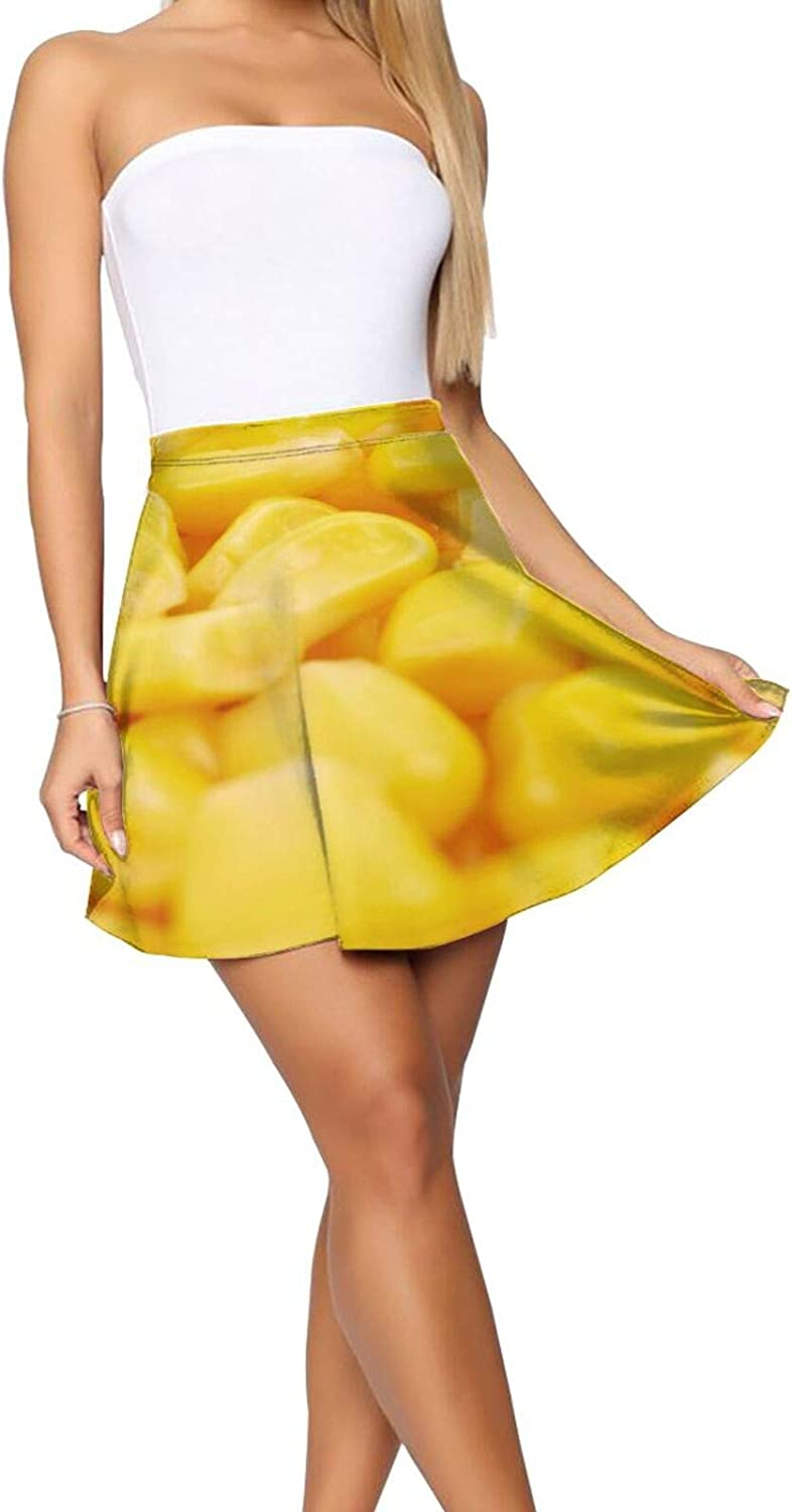 A-Line Skirt Unique Yellow Corn Funny Food High Waisted Pleated Tennis Skirts for Women Girls Teen