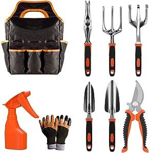 Gardening Tool Set - 9 Pieces Aluminium Alloy Garden Tools Kit Included Hand Trowel Shovels Rake, Garden Gloves and Garden Tote, Heavy Duty Garden Spade, Steel Pruning Shears, Garden Gifts