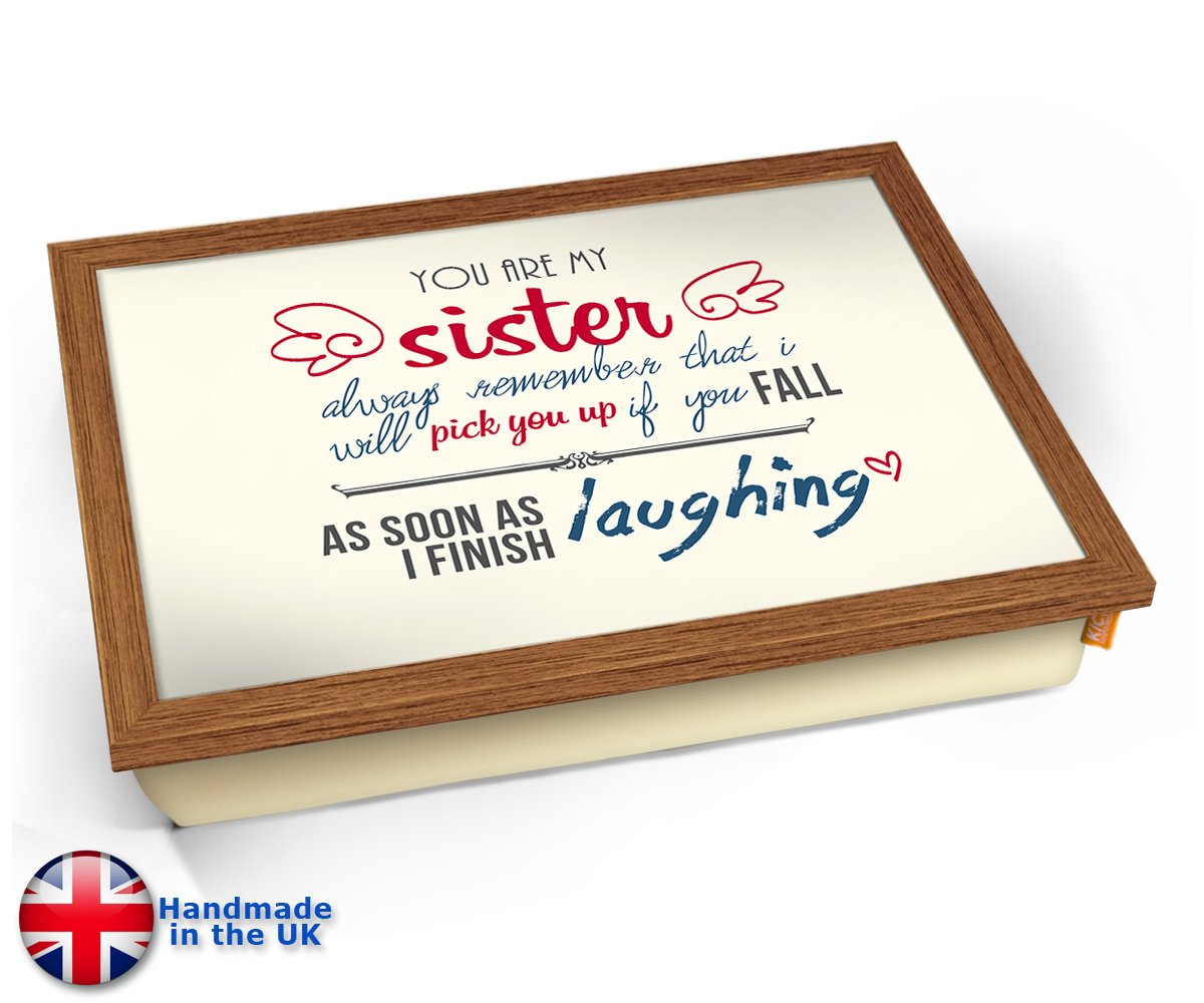KICO Sister活版印刷アートクッションLapトレイ 45cm (l) x 35cm (w) x 11cm (d) ブラウン KICO-SISTER-TYPOGRAPHY-ART-PRINT-CUSHION  Wood Effect Frame B07CVQP75V