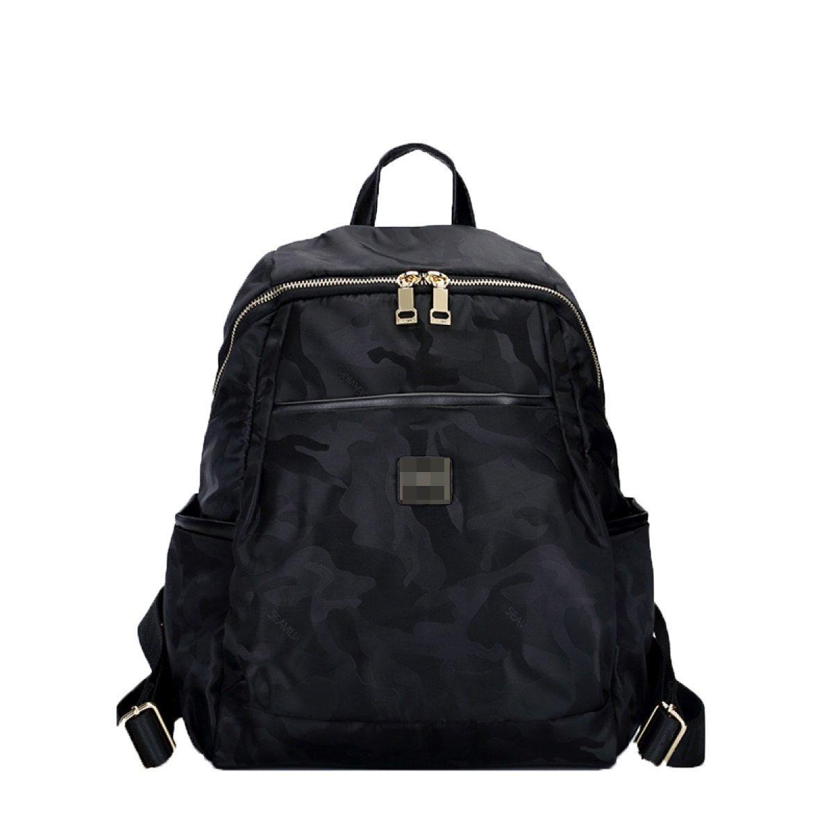 Black Medium Camouflage Nylon Backpack Waterproof Travel Gear Bag Business Trip Computer Daypack