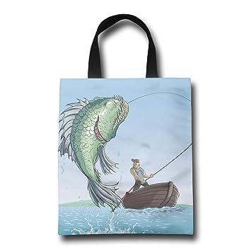 Piel bolsas Pesca Bolsa de dibujos animados hombre playa ...