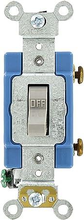 Leviton CS115-2GY 15 Amp C... Toggle Single-Pole Ac Quiet Switch 120//277 Volt