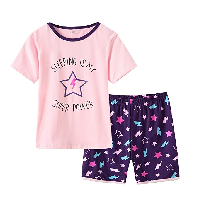 626d041e1 Amazon.com  MyFav Big Girls  Pajamas Short Cotton Child Summer Kids ...