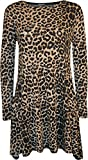 WearAll Women's Plus Size Leopard Animal Print Long Sleeve Swing Dress - Leopard - US 12-14 (UK 16-18)