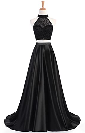 HEAR Womens Elegant Two Pieces Long Prom Dresses Formal Evening Dress Hear152 Black 0