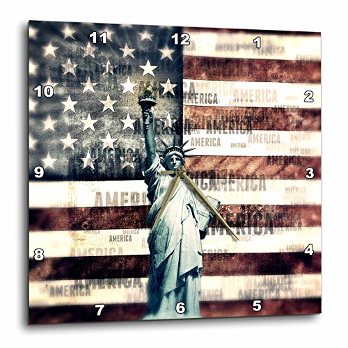 3D Rose Vintage Patriotic Statue of Liberty with American Flag Wall Clock 15