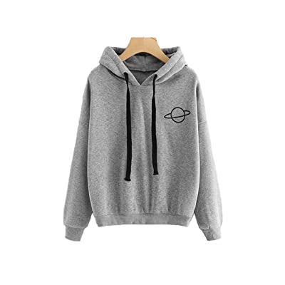 HUILAN Women's Long Sleeve Graphic Print Casual Pullover Sweatshirt Hoodies at Women's Clothing store
