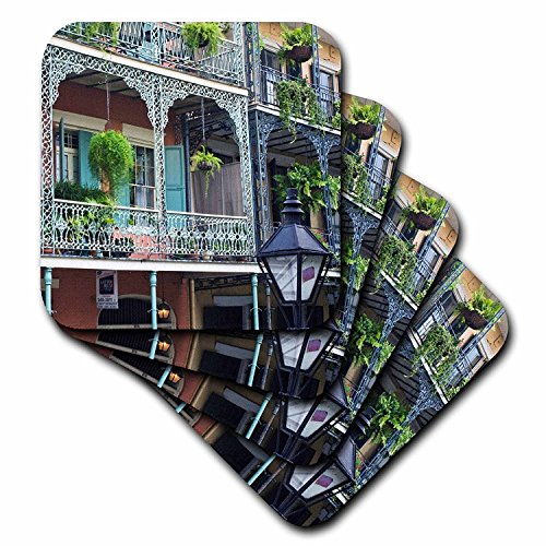 - 3dRose cst_90472_3 Louisiana New Orleans French Quarter Rob Tilley Ceramic Tile Coasters, Set of 4