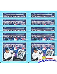 2018 Topps MLB Baseball Stickers Collection of 10 Factory Sealed Packs with 80 Brand New MINT Stickers! Look for all your Favorite Stars including Mike Trout, Aaron Judge, Bryce Harper & Many More!