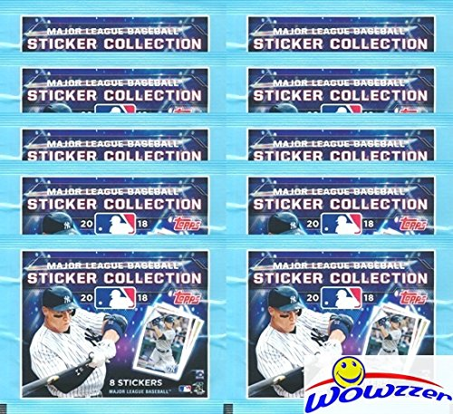 - 2018 Topps MLB Baseball Stickers Collection of 10 Factory Sealed Packs with 80 Brand New MINT Stickers! Look for all your Favorite Stars including Mike Trout, Aaron Judge, Bryce Harper & Many More!