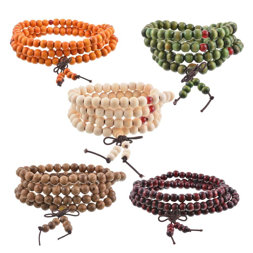 Godagoda Beads Necklace Chain Bracelet Prayer Meditation Sandalwood Elastic Unisex Natural Wood Buddhist Rosary Mala Wrist( 8mm)
