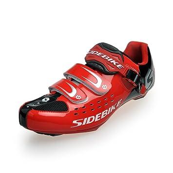 Zapatillas para bicicleta de carretera para hombre, talla 42, color negro y rojo: Amazon.es: Deportes y aire libre