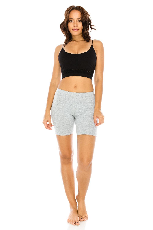 C&C Style Women's Stretch Jersey Bike Yoga Running Workout Bermuda Shorts Tights Pants Under Short Leggings S to 3XL Plus (2XL, Grey)