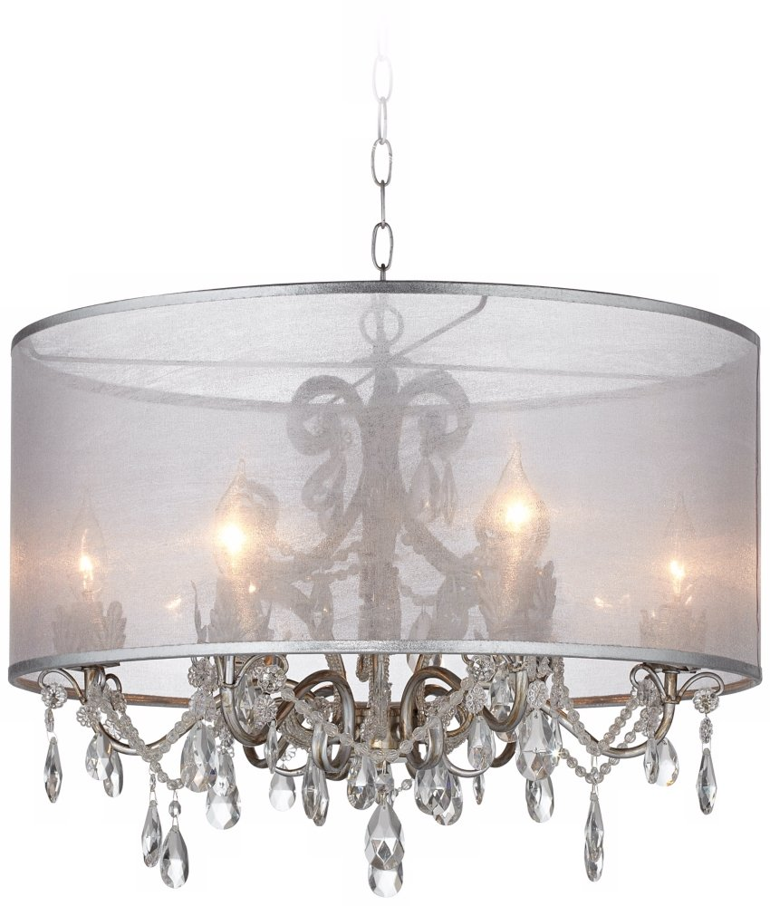 Possini euro farina 23 wide organza silver pendant light amazon aloadofball Gallery