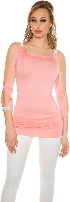 Koucla - Camiseta - con Cortes - para Mujer salmón S: Amazon.es: Ropa y accesorios