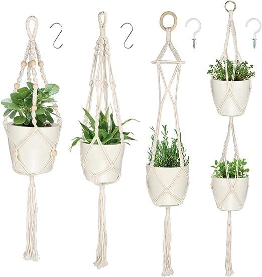 DIAOCARE Macramé Plantas, Colgante de Plantas Maceta Cuerda de Algodón Titular, 4 Interior Colgar en la Pared Planter Basket Flower Pot Holder Boho Home Decor (500, 4): Amazon.es: Jardín