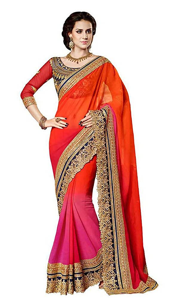 Vinayak Textile Women's Pure Georgette Bollywood Party Wear Saree