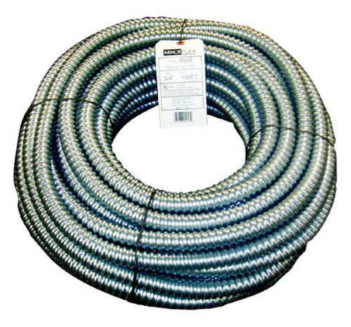 Southwire 55081902 55081902 Gal Flex Type Rws Reduced Wall Flexible Conduit, 3/4 in X 100 Ft Coil, Steel, 3/4-Inch-by-100-Foot